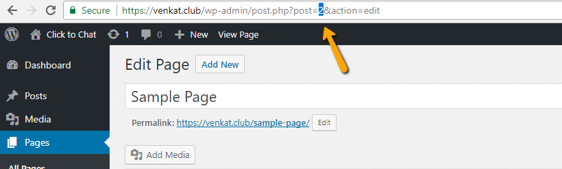 page id, post type page