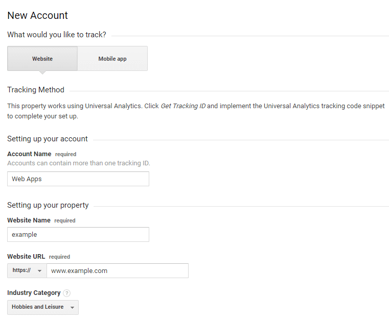 create account - sample filled