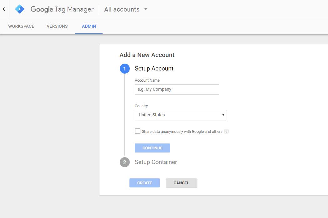 gtm create account