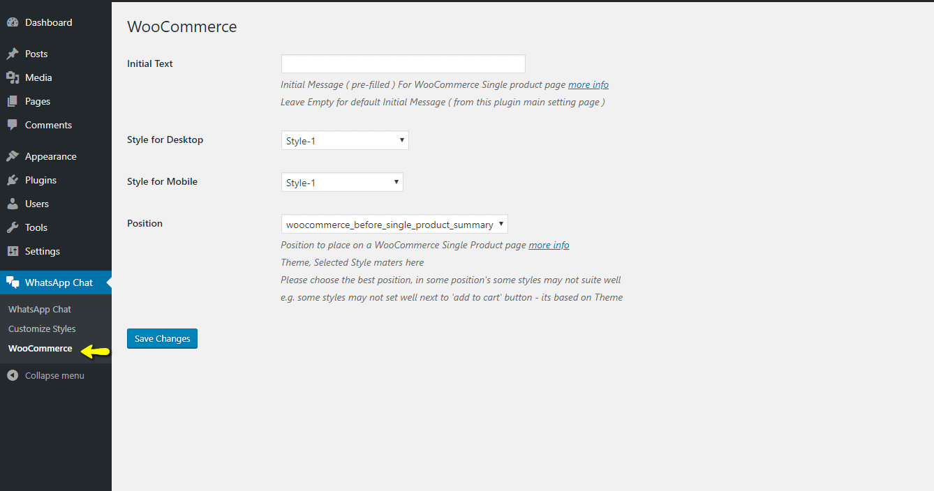 WooCommerce options page