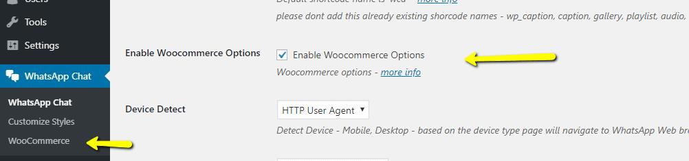 enable woocommerce options
